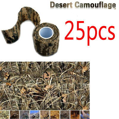 25 Rolls Military Camo Stretch Bandage Hunting Camouflage Camping Tape Wrap