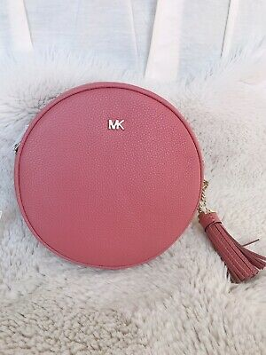 927cc8c97fa2cb NWT Michael Kors Mercer Circle Round Pebble Leather Canteen Crossbody Bag  Rose