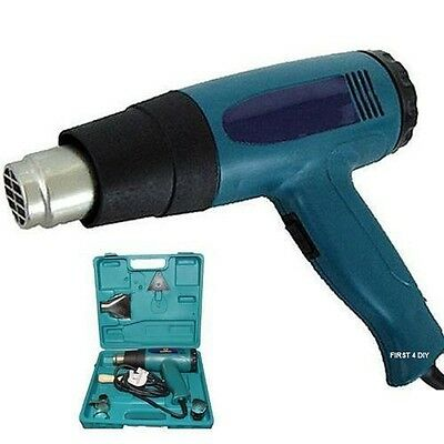 Heavy Duty 2000W Hot Air Heat Gun Wallpaper Stripper & 4 Nozzles In Case New