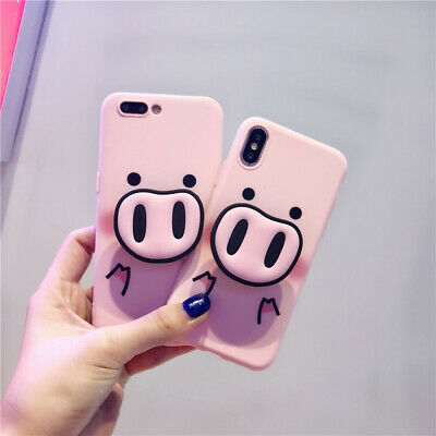 Phone Case 3D Funny Pig Nose Pink Silicone for iPhone 7 6 8 plus X XR XS MAX