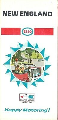 1968 ESSO HUMBLE OIL Road Map NEW ENGLAND Massachusetts Connecticut Maine Boston