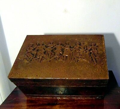 Antique Brass on Wood Repousse Sewing Box - Dancing Fairies - Original Contents
