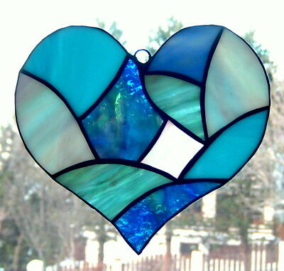 Handmade Stained Glass Suncatcher,Love Heart Gift for Valentines day, Blue color