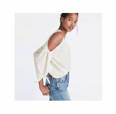 2fc9b236ec5a1 WOMENS MADEWELL COLD Shoulder Top sx XS white cotton tie sleeves ...