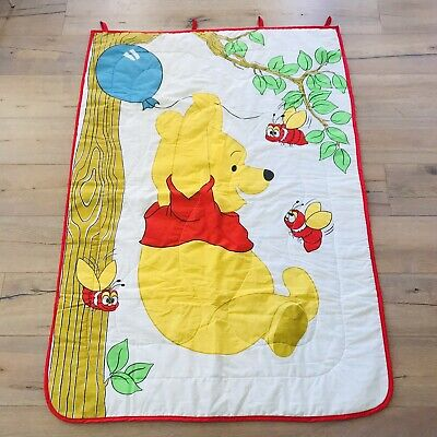 Vtg SEARS Winnie Pooh Baby Quilt Crib Blanket Wall Hanging Decor Bee Red Trim
