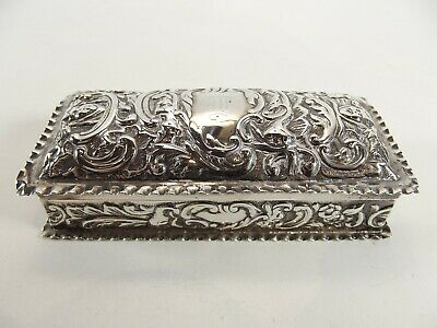 Antique Victorian Silver Trinket Box Hallmarked London 1898 Ref 1006/1