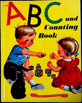 ABC & COUNTING BOOK ~ Vintage 1940's Childrens WONDER Book