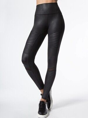 10f30f0e18df8 NEW Alo Yoga High Waisted Moto Leggings Black Performance Leather XS SOLD  OUT