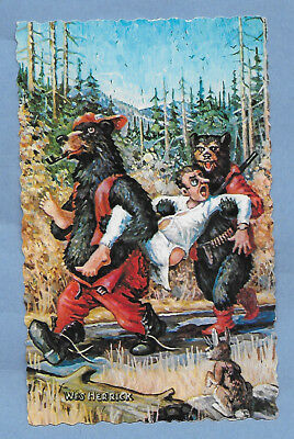 VINTAGE POSTCARD 1975 MAINE BEAR HUNTING HUMOR by WES HERRICK un-posted