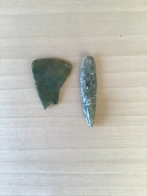 Lot Of 2 Pre Columbian Costa Rican Jade Pendant Fragments