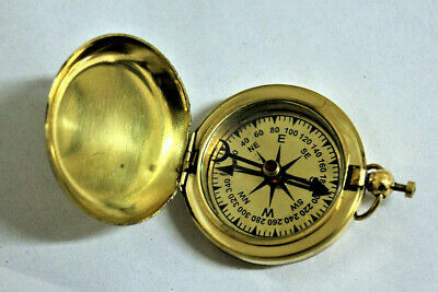 Brass Dalvey Style Compass With Lid Old Vintage Nautical Pocket Necklace