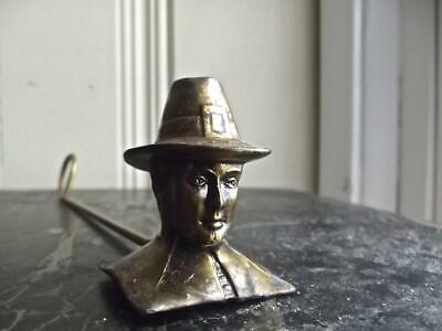Vintage Solid Brass Figural Candle Snuffer Old Time Fire Chief Head with Hat