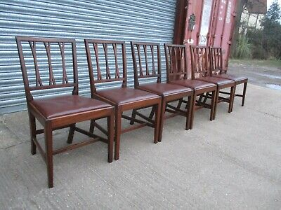 A Set of 6 Six 19th Century Dining Chairs Mahogany Georgian Single Cross Back