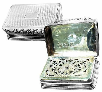 1833 Joseph Willmore Georgian Gilt 925 Sterling Silver Vinaigrette Scent Box