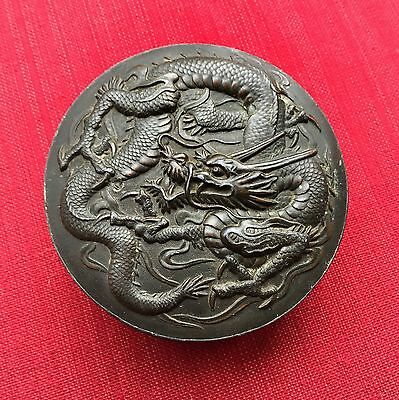 Vintage - Asian Chinese DRAGON & CRANE - Round Metal Inkstone Box