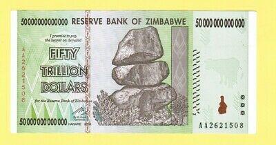 50 Trillion Zimbabwe Dollars Unc Banknote 2008 Aa And Letter Of Authenticity P90