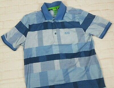 c6f731714 HUGO BOSS Paddy 5 Men's Polo Golf Shirt Modern Fit Blue Plaid Check Size  Large