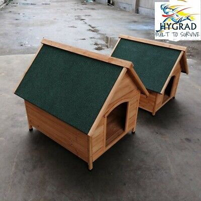 Dog Kennel Wooden Pet House Apex Roof Outdoor Shelter Dog Wood Home Durable M/L