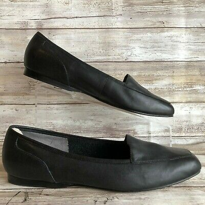 8b810b9af38 Enzo Angiolini 10 Square Moc Toe Loafers Black Leather Lightweight Womens