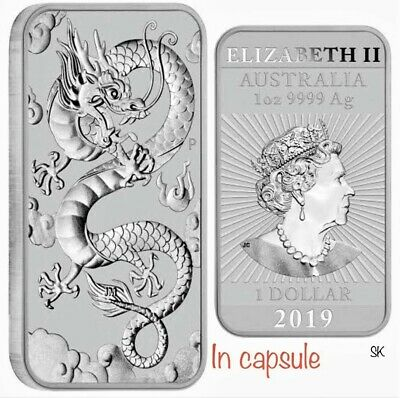 2019 Dragon Rectangular 1 oz Silver Coin in Capsule