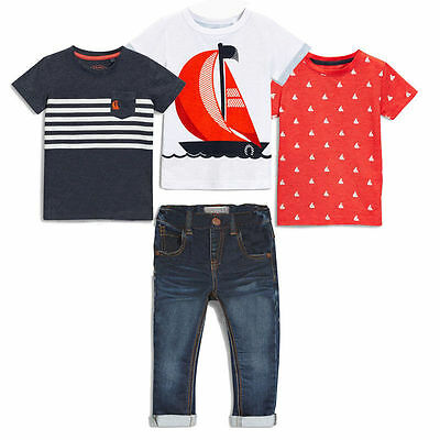 4Pcs Kids Baby Boys Outfits 3Pc Short Sleeve T-shirt+Denim Pants Summer Clothes