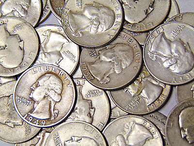 Roll of 40 Washington Quarters $10 Face Value 90% Silver Coins 1940s-1950s-1960s