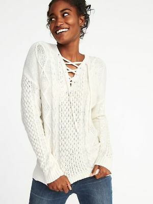 Old Navy Womens Sz XL Cable-Knit Lace-Up Sweater Off White Ivory e861ee8fc