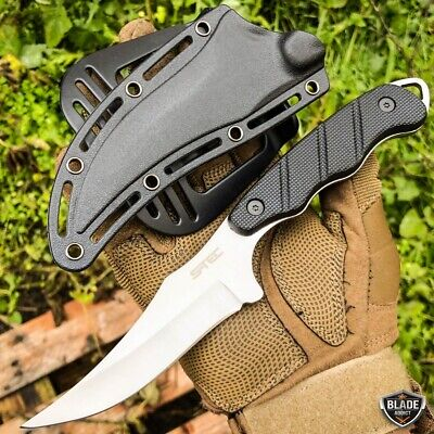 "9"" Fixed Blade Tactical Clip Point Hunting Knife with Paddle ABS Holster Sheath"