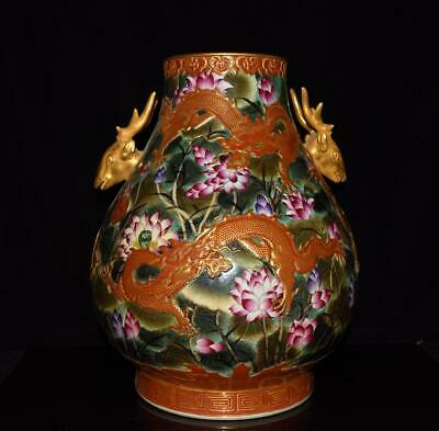 Chinese Exquisite Handmade colorful gold dragon lotus porcelain vase