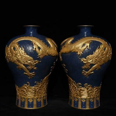 China Exquisite Handmade colorful carved gold dragon fish porcelain vase a pair