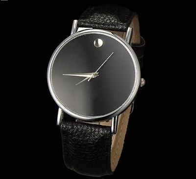 Womans Teenager Mens Watch Black Leather Band Silver Tone Analog Fashion