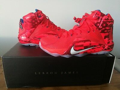 f36d0fc8024b9 Brand New LeBron XII 12 Independence Day Basketball Shoes USA 684593-616 SZ  10
