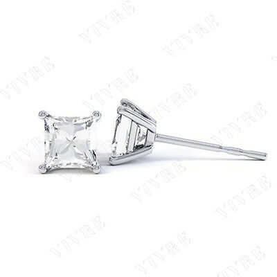 1.00ct Princess Cut Diamond Solitaire Stud Earrings 14k White Gold Free Shipping