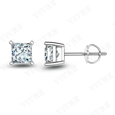 1.50ct Princess Diamond 14k Solid White Gold Solitaire Stud Earrings Screw Back