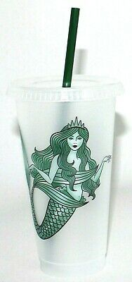 NEW Starbucks Mermaid Siren Cold Cup w/ Lid Straw  - Reusable Plastic Venti 24oz