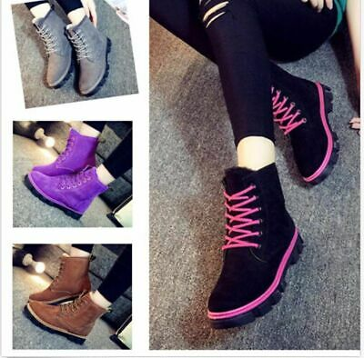 Retro Womens Shoes Lace Up Ankle Snow Boots Thicken Fur Lined Winter Warm Oxfods