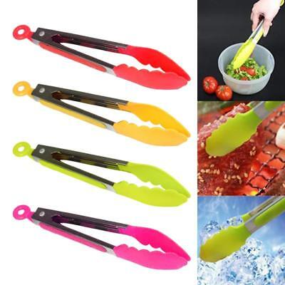Kitchen Silicone Cooking Salad Stainless Steel Handle Serving BBQ Tongs Hot ❅