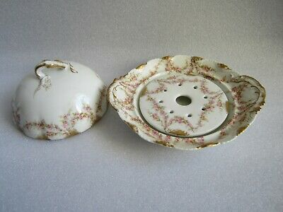Super Rare 1890's Theodore Haviland Limoges France Old Apple Blossom Cheese Dish