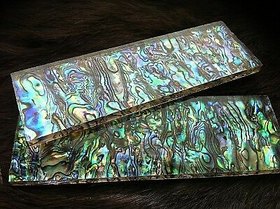 Knife Handle Scales, genuine NZ abalone shell and resin, 140mmx45mmx6mm