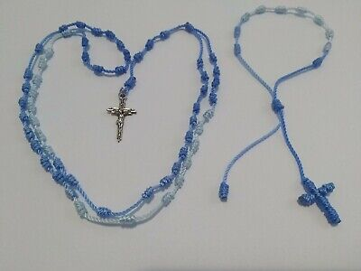 Handmade Knotted Rosary And Single Decade Bracelet (Color Blue)