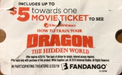 $5 Off 1 Movie Ticket To See How To Train Your Dragon: Hidden World