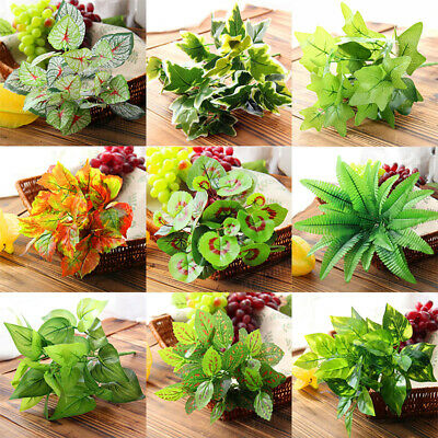 Artificial Greenery Leaves Fake Green Plants Bush Indoor Outdoor Decoration 1PC