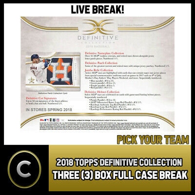 2018 Topps Definitive Collection Baseball 3 Box Break #A155 - Pick Your Team