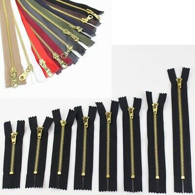 Bright Brass Metal Teeth Open Ended Zip Black 7cm-18cm Clothing Accesories New