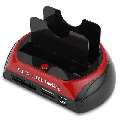 "HDD Docking Station HUB Dual 2.5"" 3.5"" SATA IDE Hard Drive Dock OTB Card Reader"