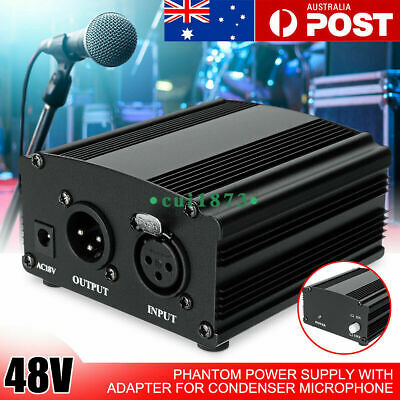 AU DC 48V Phantom Power Supply For Condenser Microphone MIC &Adapter Audio Cable