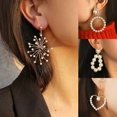 Womens Pearl Circle Earrings Statement Crystal Drop Dangle Lady Jewellery Gifts