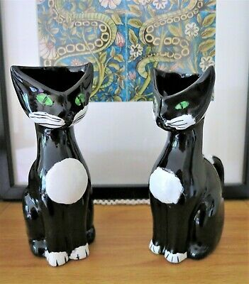 A pair of vintage/retro Italian ceramic stylised cat vases/jugs C1960s