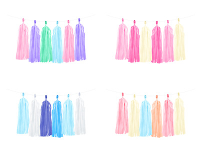 DIY Tassel Paper Garlands 2m Hanging Party Decorations - Various Colours