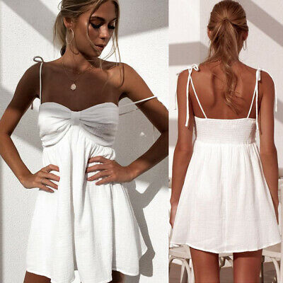 Sexy Strappy Frill Mini Dress Backless Women Evening Party Beach Short Sundress